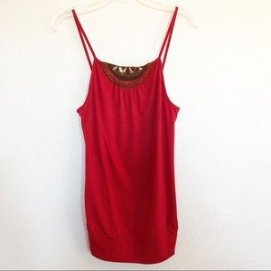Banana Republic Red Tank Top w Beaded Sequined Top
